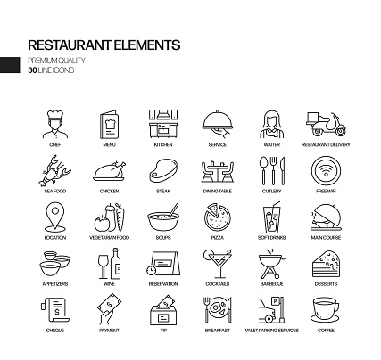 Simple Set of Restaurant Related Vector Line Icons. Outline Symbol Collection
