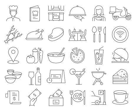Simple Set of Restaurant Related Vector Line Icons. Outline Symbol Collection. Editable Stroke
