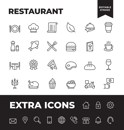 Simple Set of Restaurant Vector Line Icons