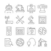 Simple Set of Robotic Engineering Related Vector Line Icons. Outline Symbol Collection. Editable Stroke