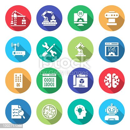 Simple Set of Robotics Engineering Related Vector Flat Icons. Symbol Collection.