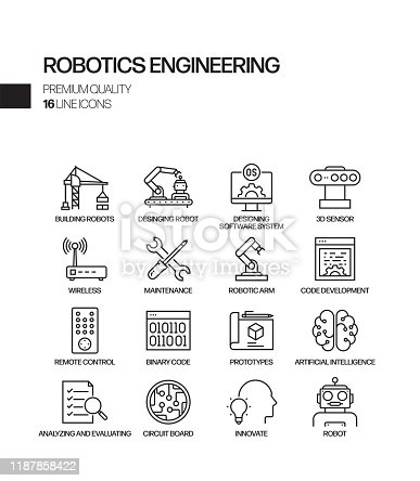 Simple Set of Robotics Engineering Related Vector Line Icons. Outline Symbol Collection.