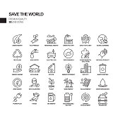 Simple Set of Save the World Related Vector Line Icons. Outline Symbol Collection