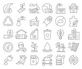 Simple Set of Save the World Related Vector Line Icons. Outline Symbol Collection. Editable Stroke