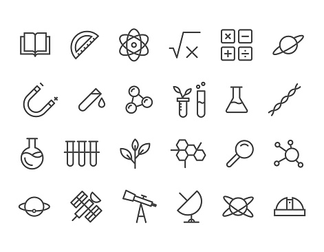 Simple Set of Science Related Vector Line Icons. Contains such Icons as Biology, Astronomy, Science Test, Lab and more. Editable Stroke. 48x48 Pixel Perfect.