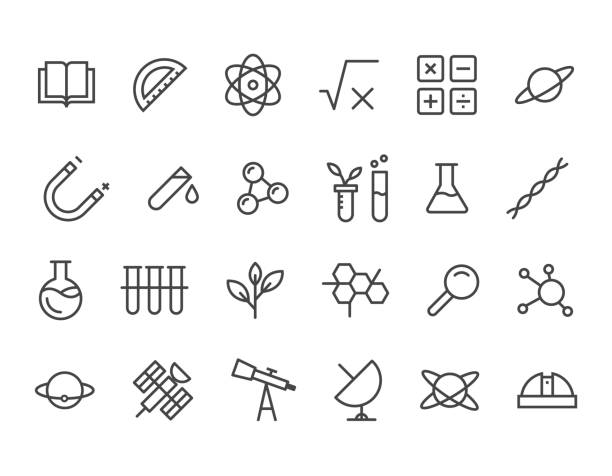 simple set of science related vector line icons. contains such icons as biology, astronomy, science test, lab and more. editable stroke. 48x48 pixel perfect. - uderzać stock illustrations