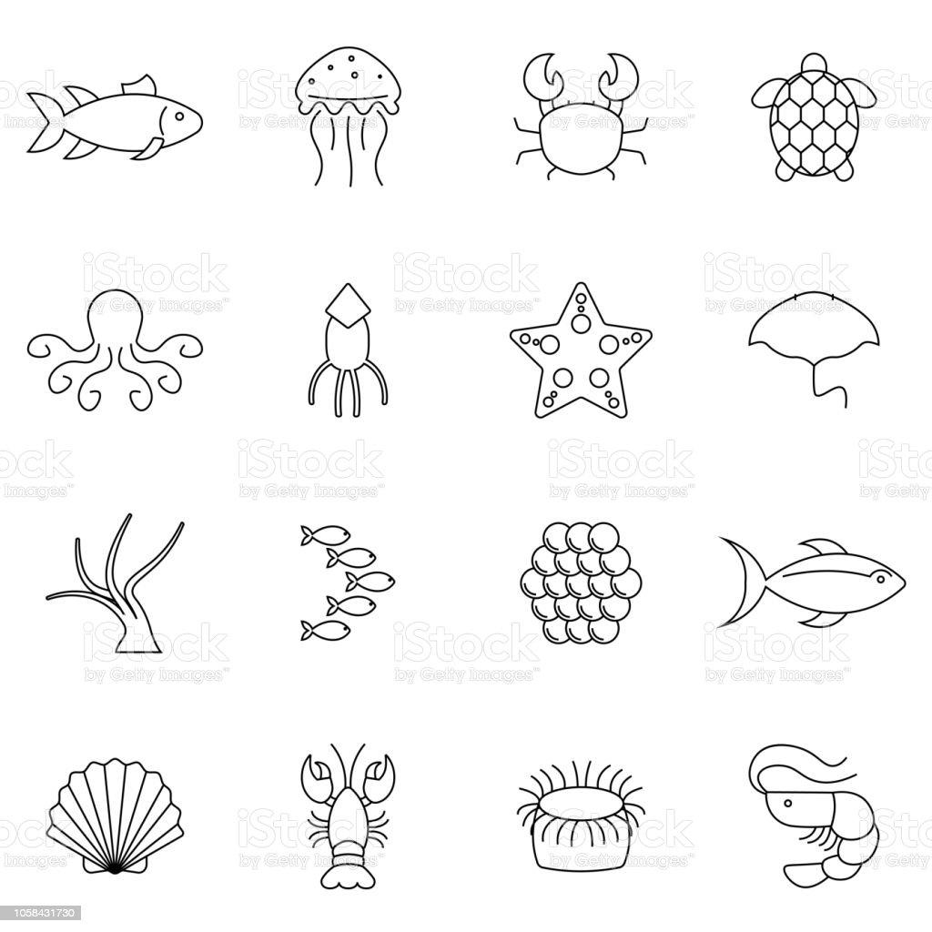 海の食べ物の簡単なセット関連するベクトル線アイコンエビカキイカカニなどのアイコンが含まれていますフラットなデザイン えびのベクターアート素材や画像を多数ご用意 Istock