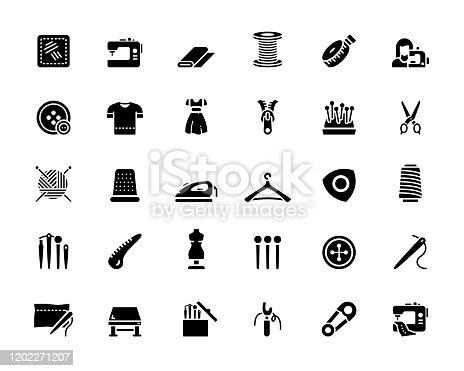 Simple Set of Sewing Related Vector Icons. Symbol Collection