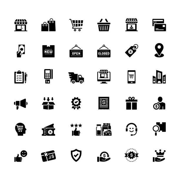 illustrazioni stock, clip art, cartoni animati e icone di tendenza di semplice set di icone vettoriali relative allo shopping e alla vendita al dettaglio. collezione symbol. - shopping