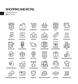 Simple Set of Shopping and Retail Related Vector Line Icons. Outline Symbol Collection.