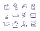 Simple Set of Shopping Related Doodle Vector Line Icons