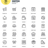 Simple Set of Shopping Related Vector Line Icons. Contains such Icons as Promotion, Wallet, Payment, Big Sale, Basket, Price Tag, Money, Delivery and more. Editable Stroke. 48x48 Pixel Perfect.