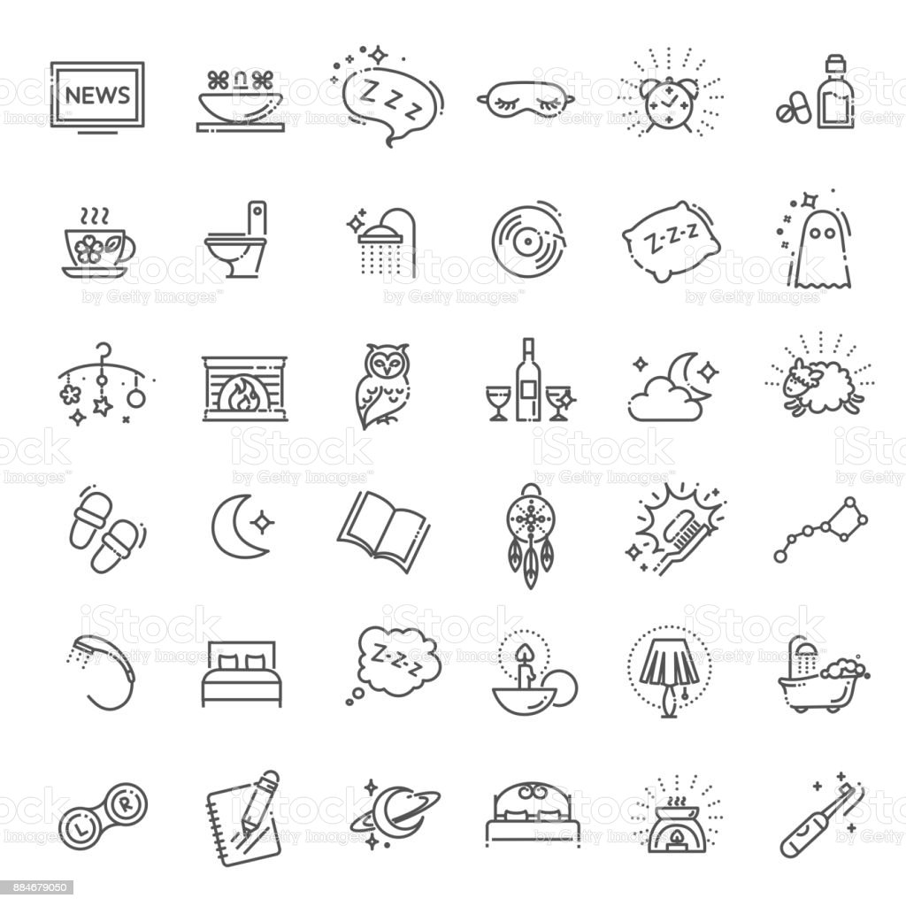 Simple Set of Sleep Related Vector Line Icons vector art illustration