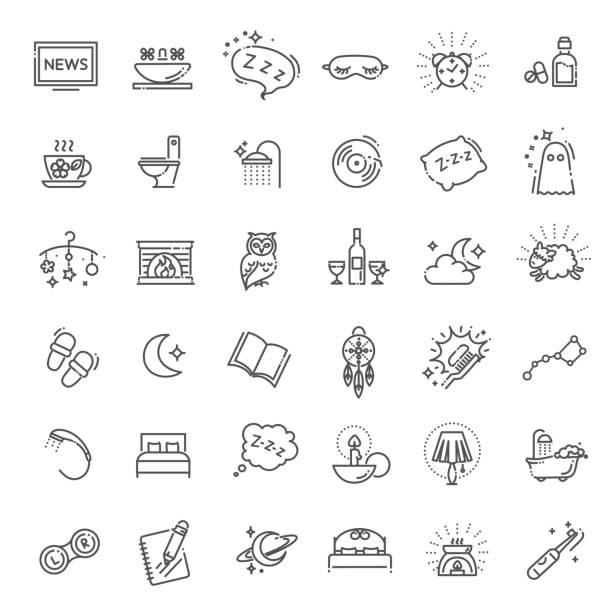 Simple Set of Sleep Related Vector Line Icons Contains such Icons as Insomnia, Pillow, Sleeping Pills and more tired stock illustrations