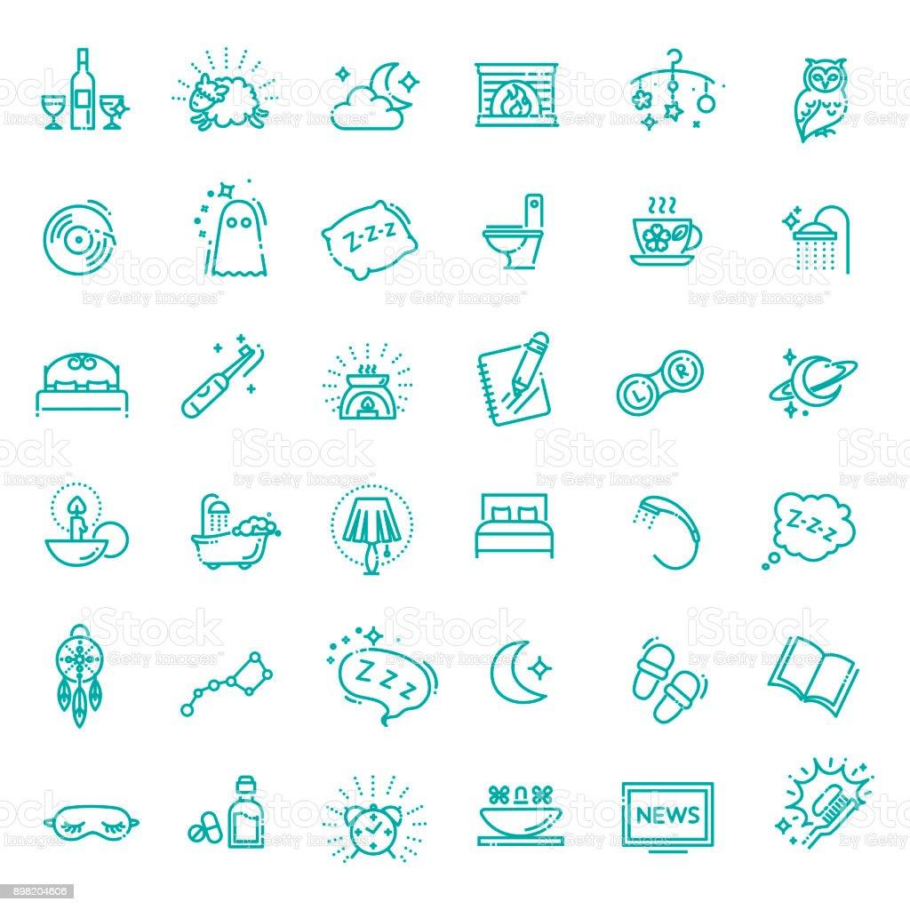 Einfachen Satz von Schlaf im Zusammenhang mit Vektor-Linie-Icons – Vektorgrafik