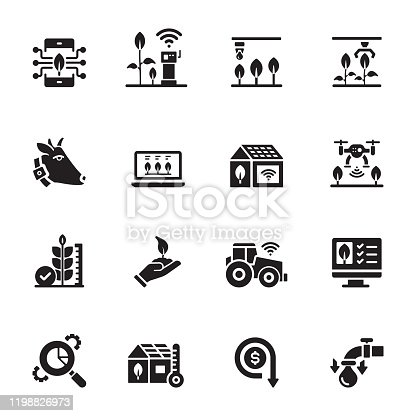 Simple Set of Smart Farm Related Vector Icons. Symbol Collection.