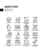 Simple Set of Smart Farm Related Vector Line Icons. Outline Symbol Collection.
