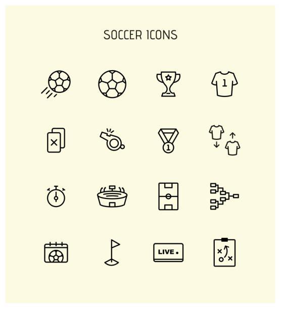 Conjunto simples de futebol relacionados vetor linha de ícones. Contém ícones como estádio, campo, Copa de campeonato e muito mais. - ilustração de arte em vetor