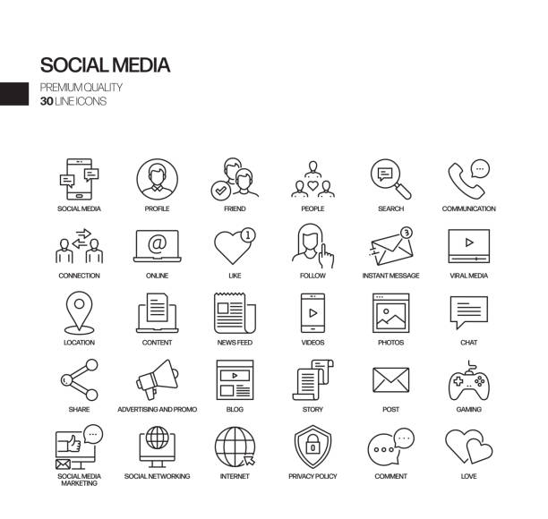 Simple Set of Social Media Related Vector Line Icons. Outline Symbol Collection Simple Set of Social Media Related Vector Line Icons. Outline Symbol Collection social media icon stock illustrations