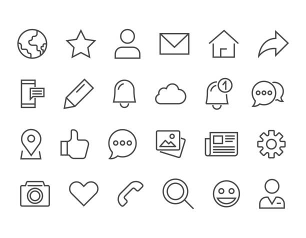 Simple Set of Social Networks Related Vector Line Icons. Editable Stroke. 48x48 Pixel Perfect. vector art illustration