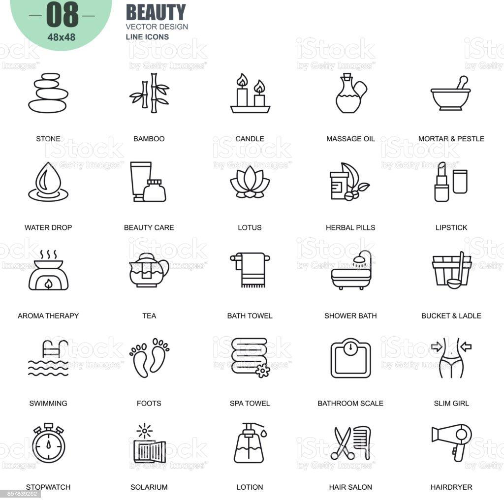 Simple juego de spa y belleza relacionados con el vector iconos de línea - ilustración de arte vectorial