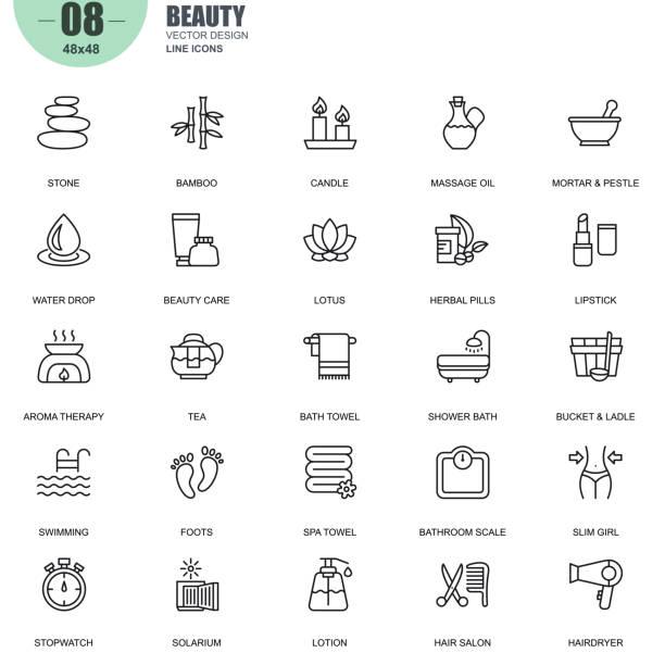 stockillustraties, clipart, cartoons en iconen met eenvoudige set van wellness en schoonheid gerelateerde vector lijn pictogrammen - sauna
