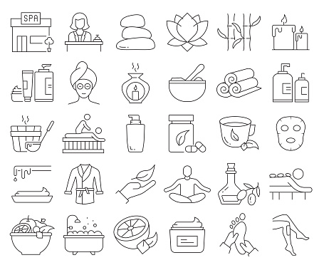 Simple Set of SPA Elements Related Vector Line Icons. Outline Symbol Collection. Editable Stroke