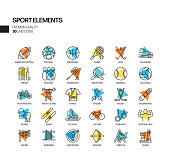 Simple Set of Sports Elements Related Spotlight Vector Line Icons. Outline Symbol Collection