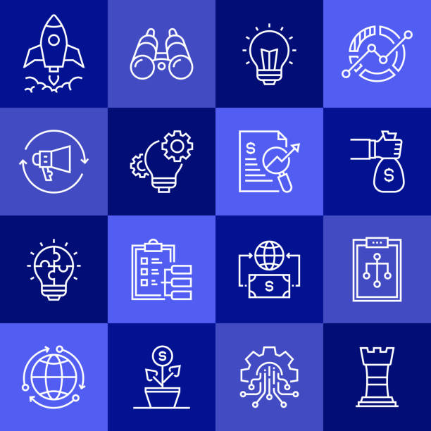 simple set of start up related vector line icons. outline symbol collection. - entrepreneurship stock illustrations