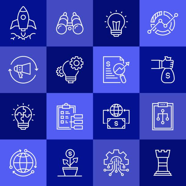 ilustrações, clipart, desenhos animados e ícones de configuração simples de ícones da linha de vetor relacionados ao arranque. coleção de símbolos de esboço. - entrepreneurship