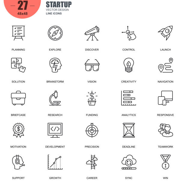 simple set of startup related vector line icons - opportunity stock illustrations