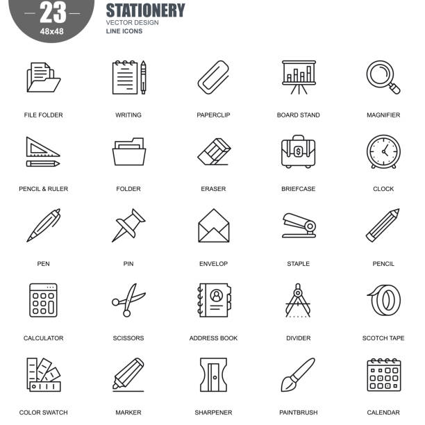 Simple set of stationery related vector line icons Simple Set of Stationery Related Vector Line Icons. Contains such Icons as File Folder, Magnifier, Calculator, Pencil, Paintbrush, Briefcase and more. Editable Stroke. 48x48 Pixel Perfect. stapler stock illustrations