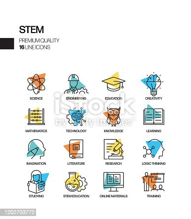 Simple Set of STEM Education Related Spotlight Vector Line Icons. Outline Symbol Collection