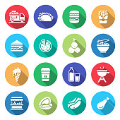 Simple Set of Street Food Related Vector Flat Icons. Symbol Collection