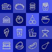 Simple Set of Street Food Related Vector Line Icons. Outline Symbol Collection