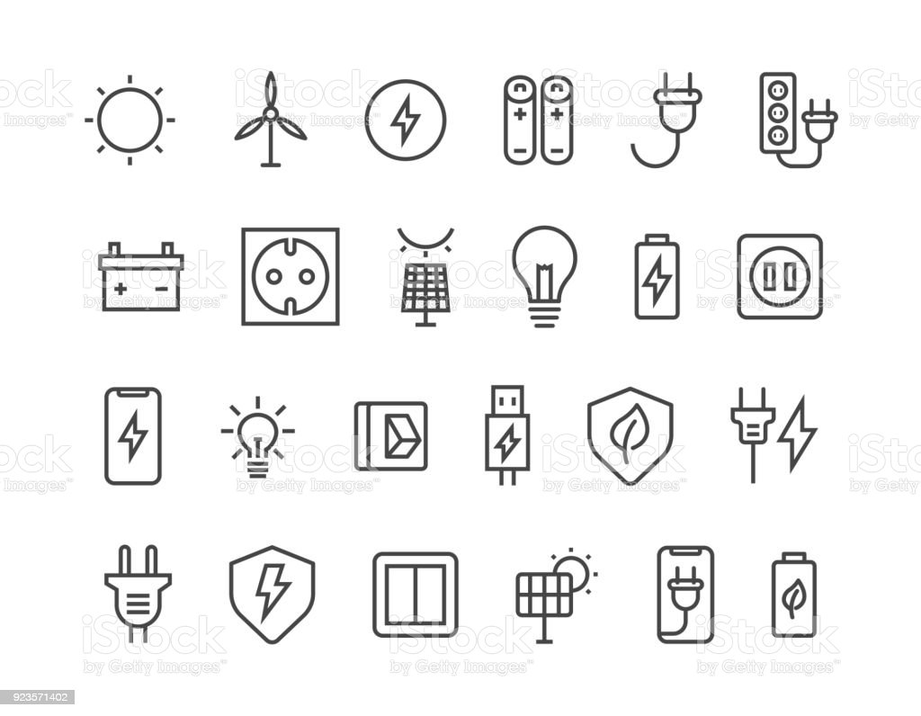 Simple Set of Surge Protector Related Vector Line Icons. Contains such Icons as American/European Socket, USB Charge, Child Protection and more. Editable Stroke. 48x48 Pixel Perfect. vector art illustration
