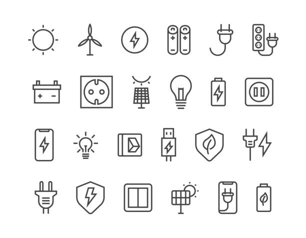 ilustrações de stock, clip art, desenhos animados e ícones de simple set of surge protector related vector line icons. contains such icons as american/european socket, usb charge, child protection and more. editable stroke. 48x48 pixel perfect. - elétrico
