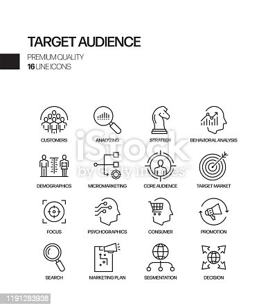 Simple Set of Target Audience Related Vector Line Icons. Outline Symbol Collection