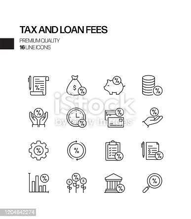 Simple Set of Tax and Loan Fees Related Vector Line Icons. Outline Symbol Collection