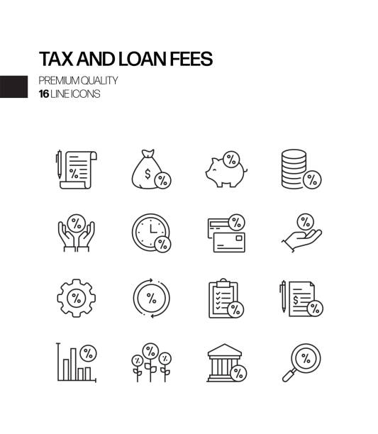 Simple Set of Tax and Loan Fees Related Vector Line Icons. Outline Symbol Collection Simple Set of Tax and Loan Fees Related Vector Line Icons. Outline Symbol Collection fee stock illustrations