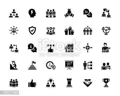 Simple Set of Teamwork Related Vector Icons. Symbol Collection