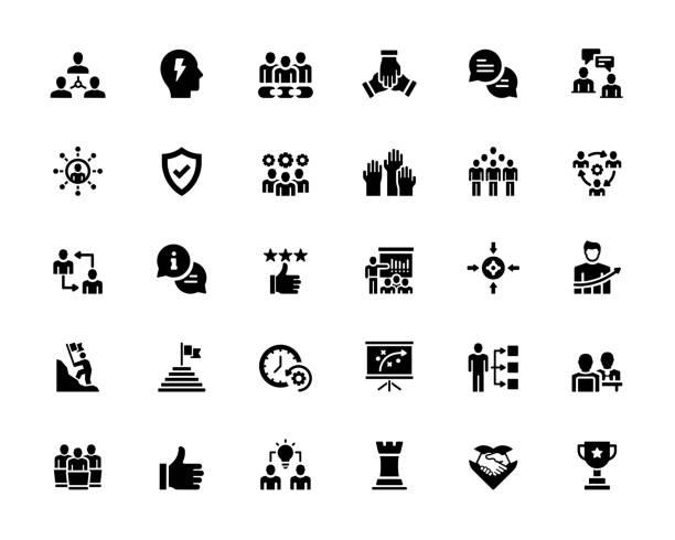 illustrazioni stock, clip art, cartoni animati e icone di tendenza di simple set of teamwork related vector icons. symbol collection - dilemma morale