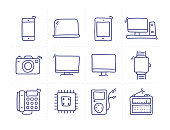 Simple Set of Technology Related Doodle Vector Line Icons
