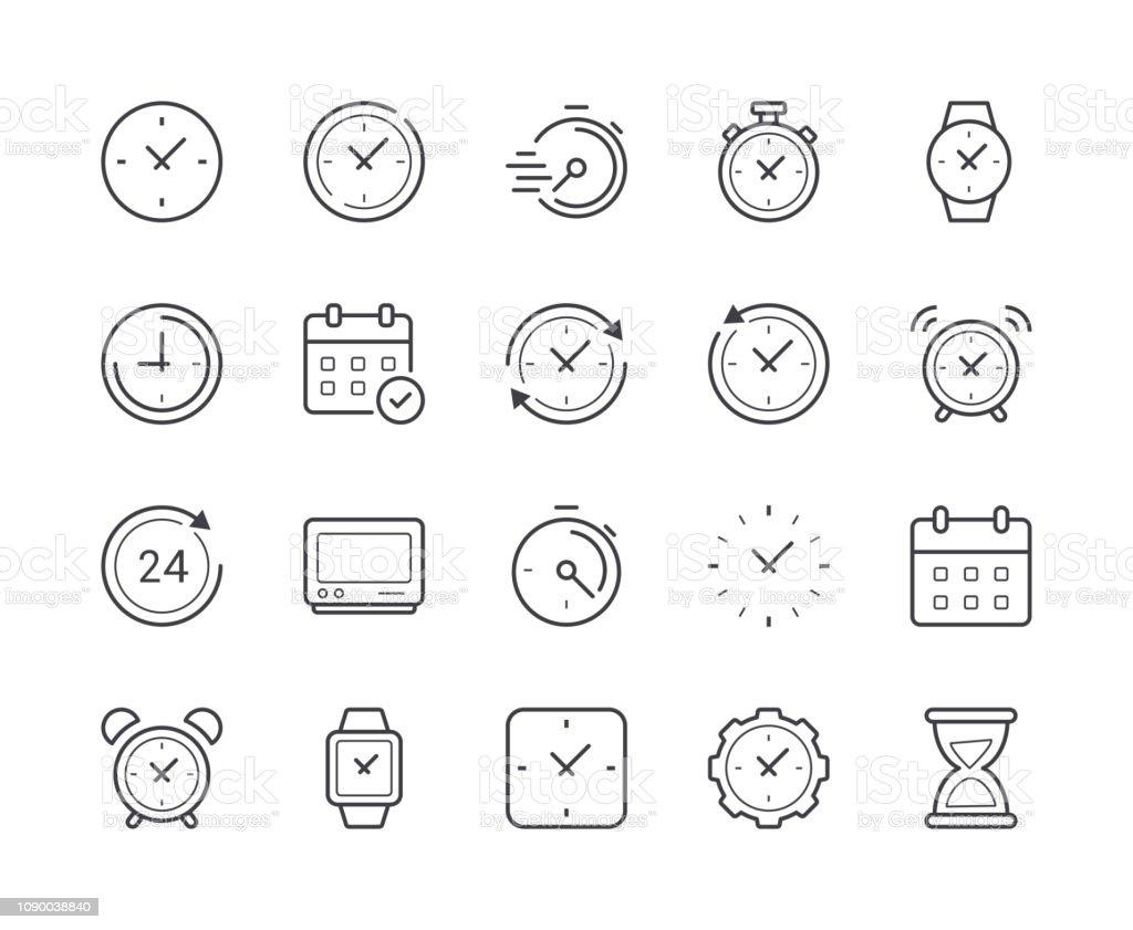 Simple jeu du temps et horloge icône de la ligne. Accident vasculaire cérébral modifiable - clipart vectoriel de Affaires libre de droits