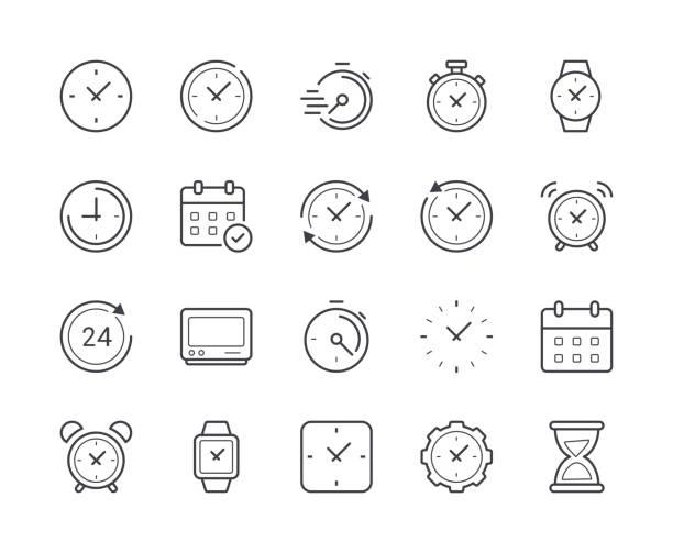 prosty zestaw czasu i ikony linii zegara. edytowalny obrys - czas stock illustrations