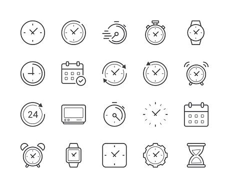 Simple Jeu Du Temps Et Horloge Icône De La Ligne Accident Vasculaire Cérébral Modifiable Vecteurs libres de droits et plus d'images vectorielles de Affaires