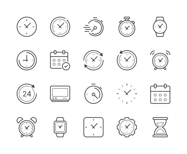 Simple Set of Time and Clock Line Icon. Editable Stroke Simple Set of Time and Clock Line Icon. Editable Stroke clock stock illustrations