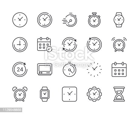 istock Simple Set of Time and Clock Line Icon. Editable Stroke 1129548855