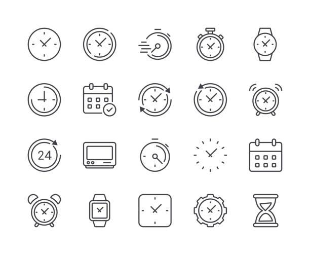 bildbanksillustrationer, clip art samt tecknat material och ikoner med enkel uppsättning tid och klockikon. redigerbara stroke - armbandsur