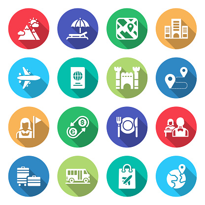 Simple Set of Tourism and Travel Related Vector Icons. Symbol Collection